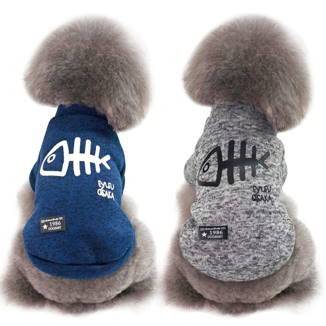 Cute Fish Bone Printed Hoodies for Small Dogs