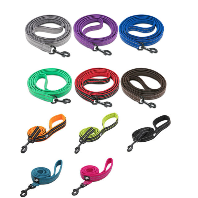 Soft Nylon Dog Leash with Reflective Stripes