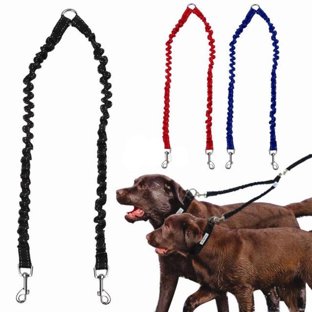 Elastic Bungee Walking Double Dog's Leash