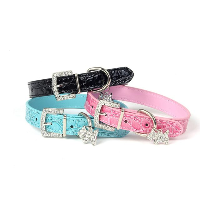 Jewelry Leather Pet Collar with Crystal Charm