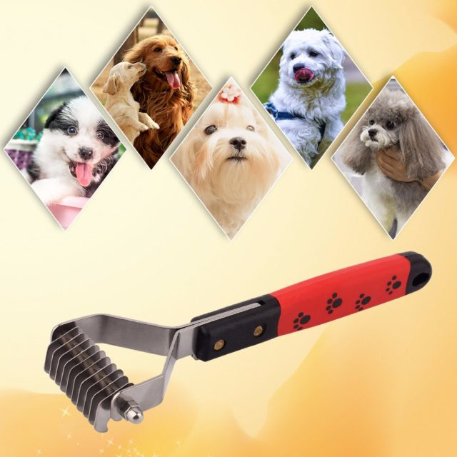 Paw Print Dematting Pet Grooming Brush
